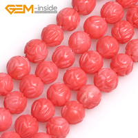 GEM inside 8mm Carved Lotus Flower White/Pink/ Coral Round Shape Buddha Beads for Jewelry Making DIY Strand 15 Inches Wholesale