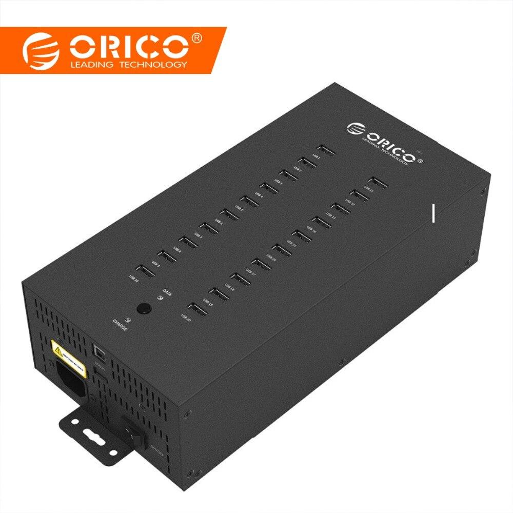 ORICO USB HUB 20 Port USB Multi HUB Type Un Industriel USB 2.0 HUB Splitter avec 2 Modèles de transmission de Données de charge (IH20P)