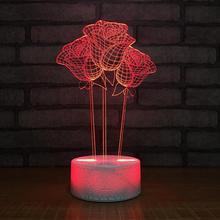 Colorful LED 3D Vision Night Light Rose Image Touchment Control Color 3D Night Lamp Desk Light colorful lotus lamp night light before the buddha for the led long light desk lamps za116446