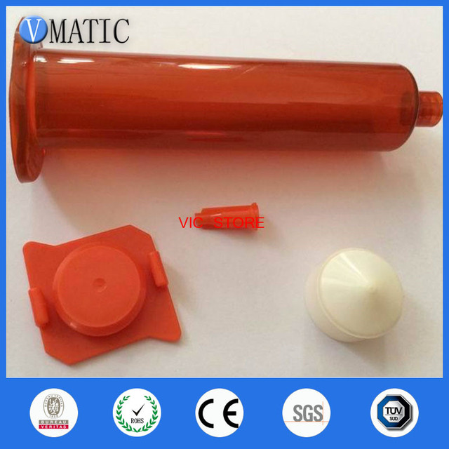Free Shipping Amber Color Glue Dispensing Pneumatic Syringe 5cc/ml With Tip Cap/Stopper End Cap/Cover Piston 50 Sets/Pack