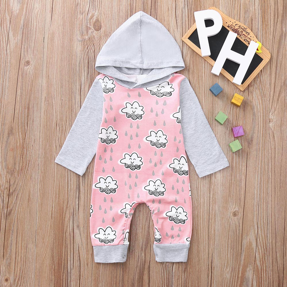 9b677efac50c TELOTUNY Baby Clothing Cloud Smile Hooded Romper new born baby ...