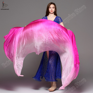 Image 5 - scarf belly dance veil velo danza del vientre shawl for belly dancing silk vei scarf bellydance Gradient Rainbow Adults veil