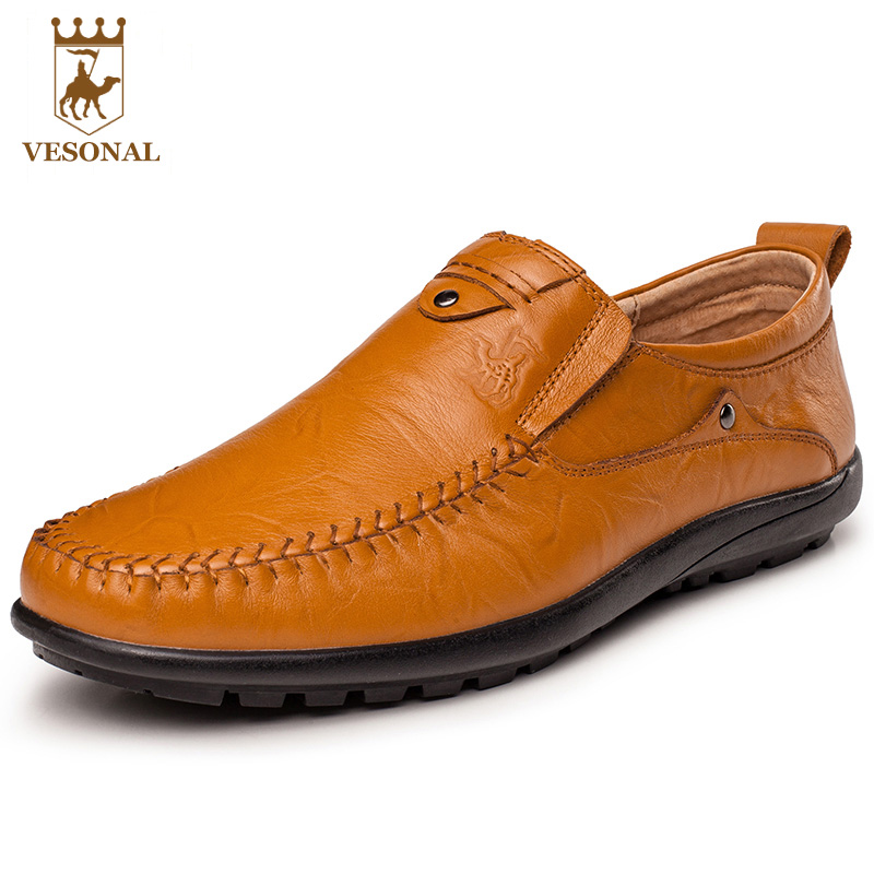VESONAL 2017 Quality Mocassin Male Brand Genuine Leather Casual Shoes Men Loafers Breathable Ons Soft Walking Boat Man Footwear male casual shoes soft footwear classic men working shoes flats good quality outdoor walking shoes aa20135