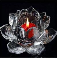 12 CM de Cristal Suporte de Vela de Flor De Lótus De Vidro suporte de Vela Tealight Centrais Candelabros de Casamento Feng Shui Decoração de Casa