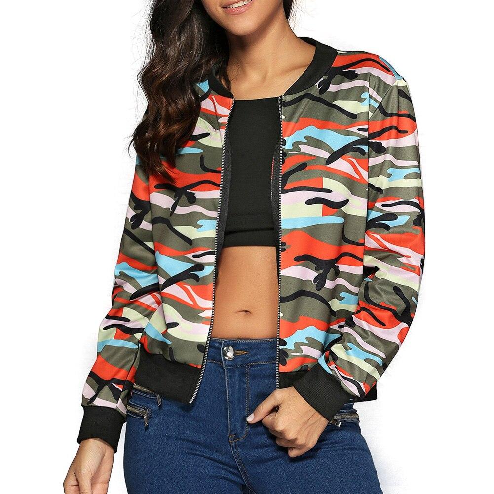 145e8a07e6ec0 Women Coat Bomber Jacket Spring Autumn Stand Collar Long Sleeve Camouflage  Printed Baseball Jackets Female Zipper Coat