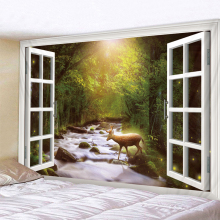 Forest Stream Deer Printed Large Wall Tapestry Cheap Hippie Wall Hanging Bohemian Wall Tapestries Mandala Wall Art Decor forest stream sunlight waterproof wall hanging tapestry