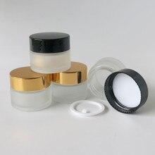 Frasco de maquillaje de 20x15 ml de vidrio esmerilado vacío con tapas negras doradas foca blanca 1/2oz contenedores de vidrio cosmético vacíos portátiles