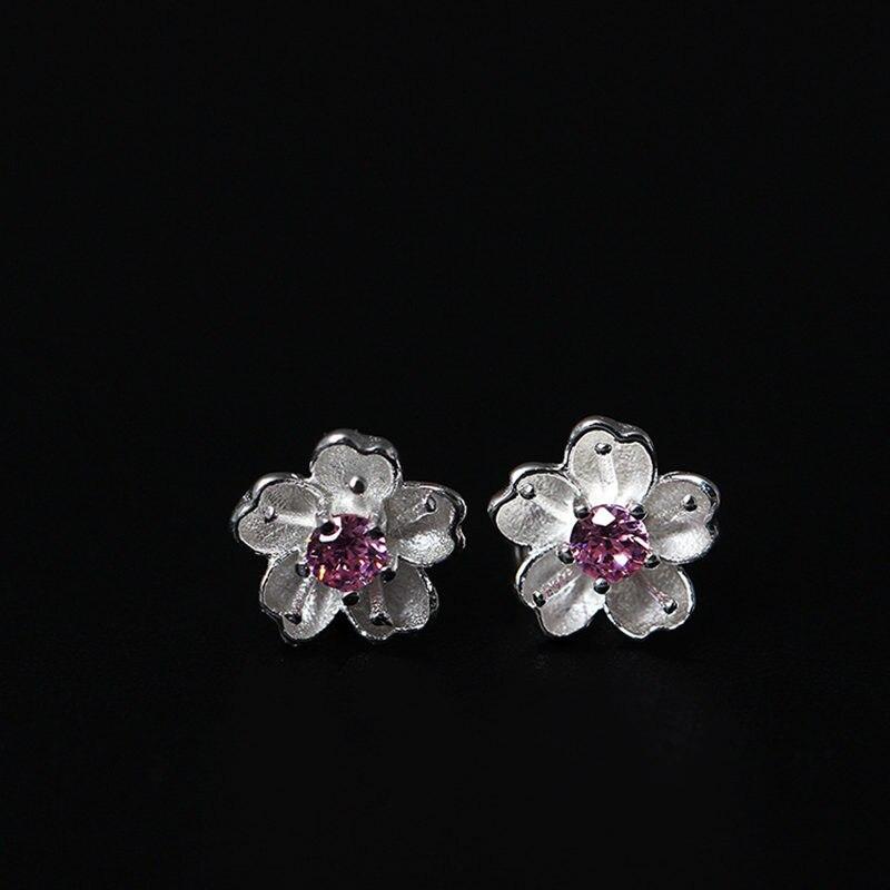 Милый цветок серьга Для женщин в серебро 925 с розовым камешком оригинальные дизайнерские серьги стержня для Для женщин Bijoux подарки
