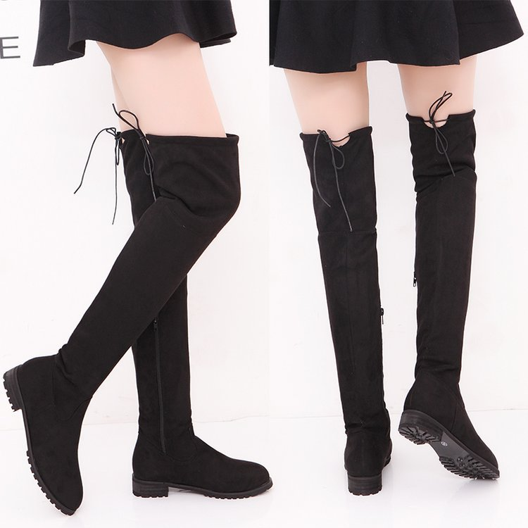New Winter Waterproof Boots Women Long Boots Autumn Ladies Platform High Heels Thigh High Boots Lace Up Over The Knee Boots