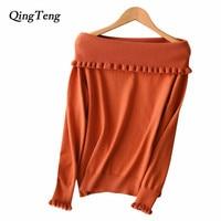 QingTeng Jersey Off Shoulder Female Sweater Long Sleeve White Black Ruffles Collar Spring Pullover Women Cashmere