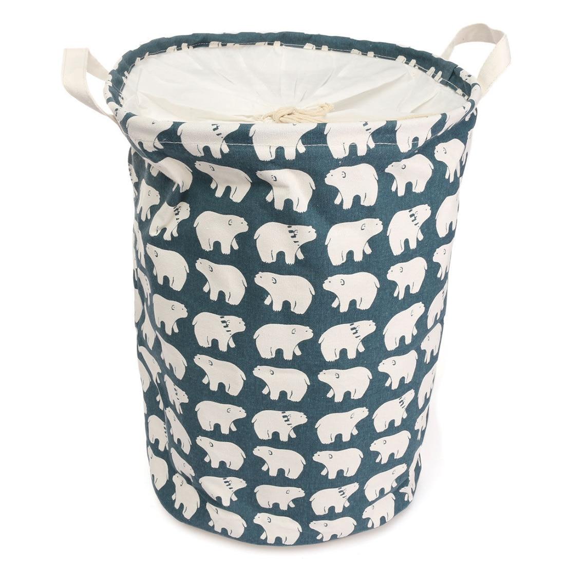 Foldable Cotton Linen Washing Clothes Laundry Basket Sorter Bag Hamper Storage,Blue Polar Bear-35*45Cm