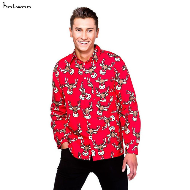 Adult Men Christmas Shirt Santa Snowman Reindeer Novelty Xmas Fancy Dress  Men Tops plus size ea42c42d09e5