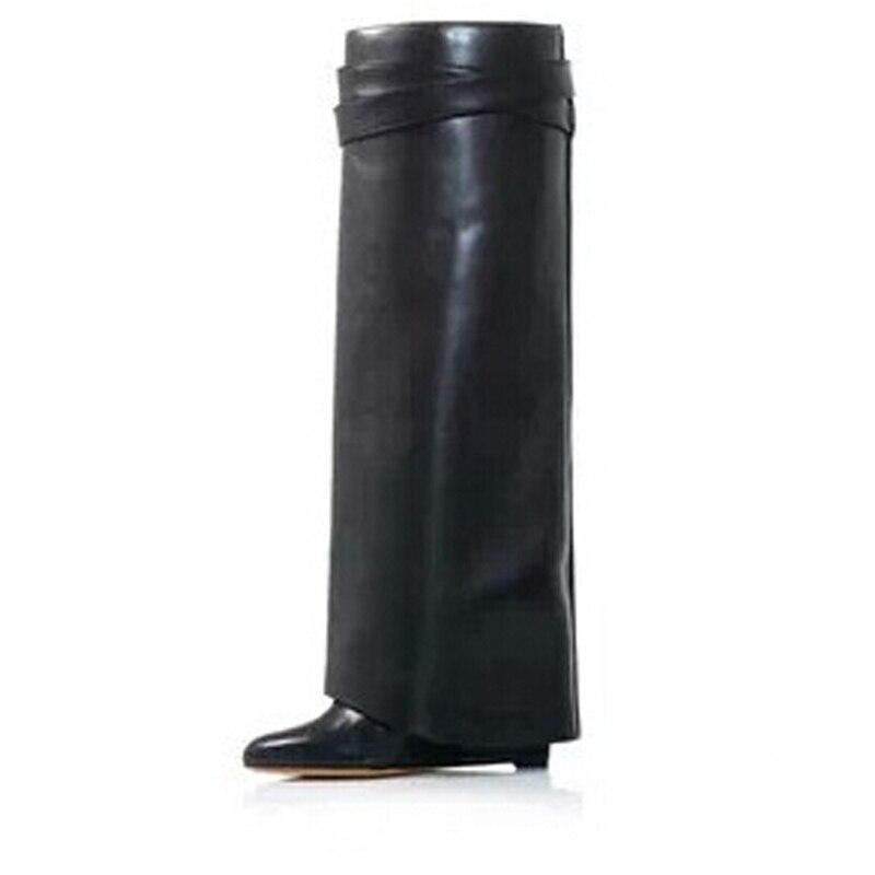 Plus Pic Chaussures Moto De Talons Hauts Sharklock La D'hiver Pic Wedge as En Piste As Fois Genou Cuir Pour Bottes Haute Hiver Dames Style Femmes qTwSAxCw