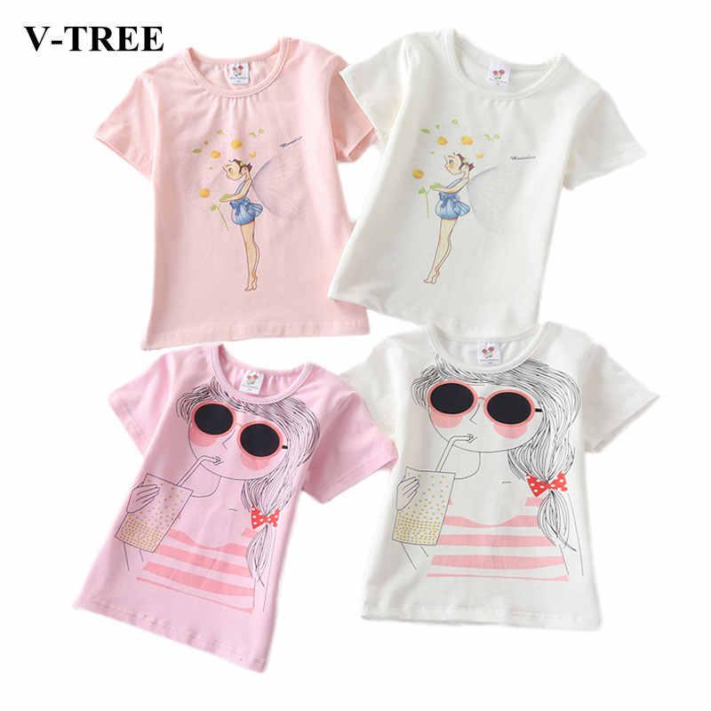 Cartoon Print T Shirt For Girls Summer 2019 Kids Tops Cotton Children Shirts Teenager School Blouse 8 10 12 Baby Outerwear