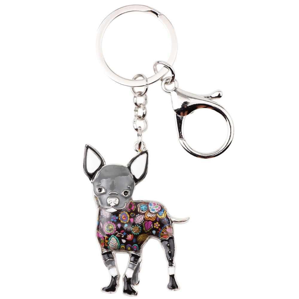 Weveniエナメル金属チワワ犬キーチェーンキーリング女の子バッグチャーム新しいファッションジュエリー女性のための車キーホルダーアクセサリー