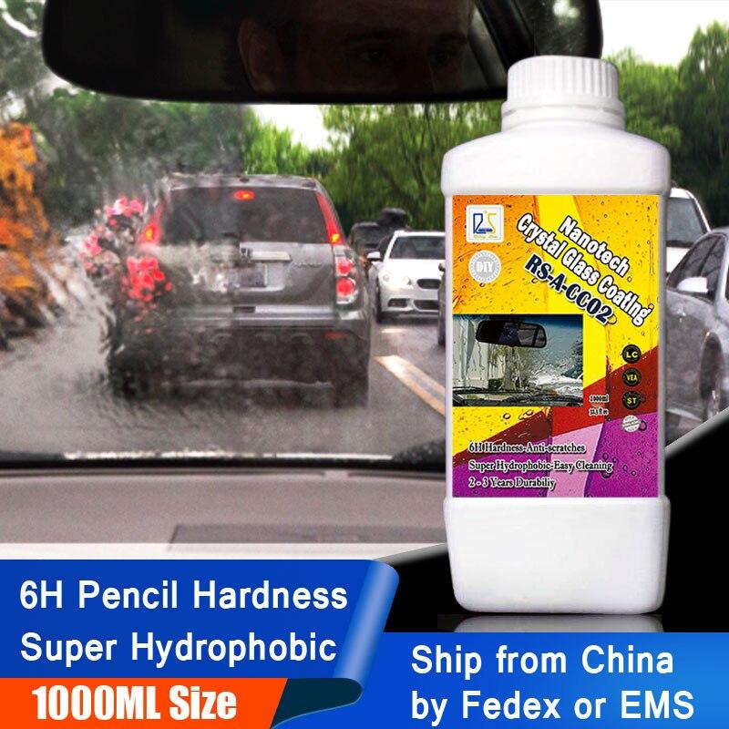 Étoile montante RS-A-CC02 6 H Nano hydrophobe verre liquide pour le nettoyage des vitres pluie repousser Nanotech cristal verre revêtement 1000 ml Kit