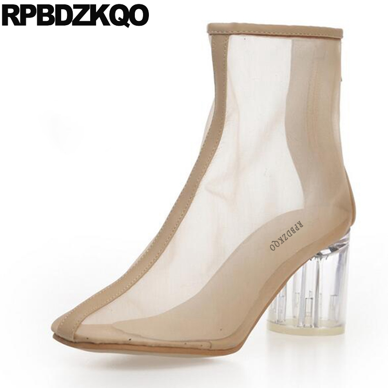 Clear Mesh High Heel Booties Brand Women Ankle Boots 2016 Round Toe 2017 Chunky Beige Size 4 Transparent Summer Sexy Shoes western femme clear heel transparent boots plastic women ankle booties peep toe high heels shoes summer short boots new fashion