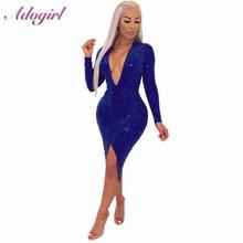 Adogirl Sequins Asymmetrical Midi Dress Women Sexy Deep V Neck Long Sleeve High Slit Bodycon Night Club Dresses female vestidos