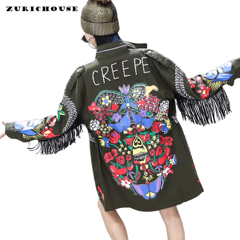 ZURICHOUSE Trench-Coat Printing Female Long Fashion Women's Streetwear Bead Tassel Rivet