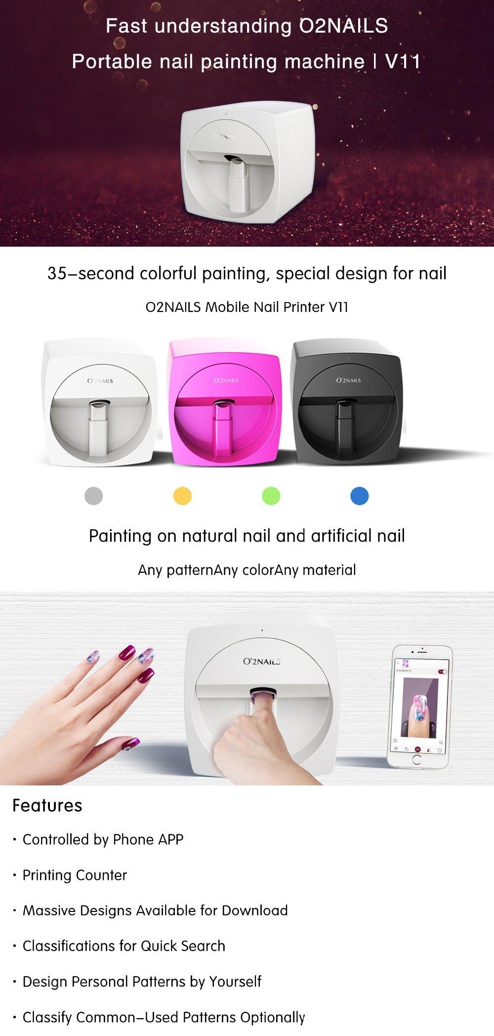 O2nails v11 impressora de unhas móveis equipamento