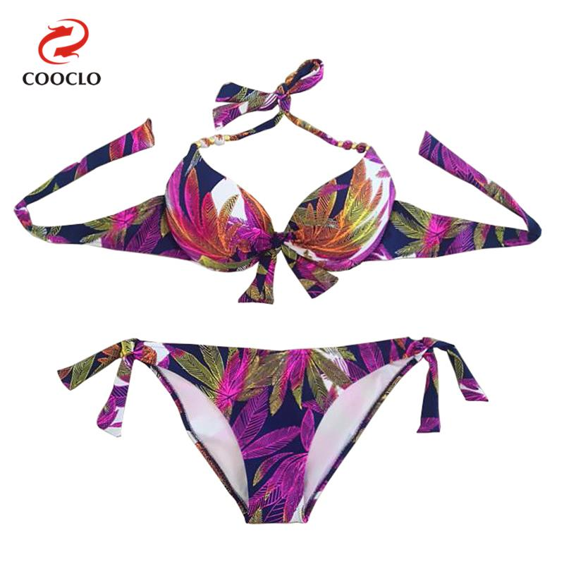 Prix pour Vente chaude nouveau style femmes maillots de bain push up bikini set femmes feuilles imprimer maillots de bain beachwear