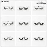 AMAOLASH Free DHL 50pcs 3D Mink Lashes Luxury handmade makeup Mink false eyelashes Natural long Cross thick lashes 26Styles