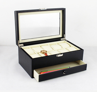 Vintage 10 Slot Double Layer Wood Structure Leather Watch Display Box Jewelry Box Case With Glass