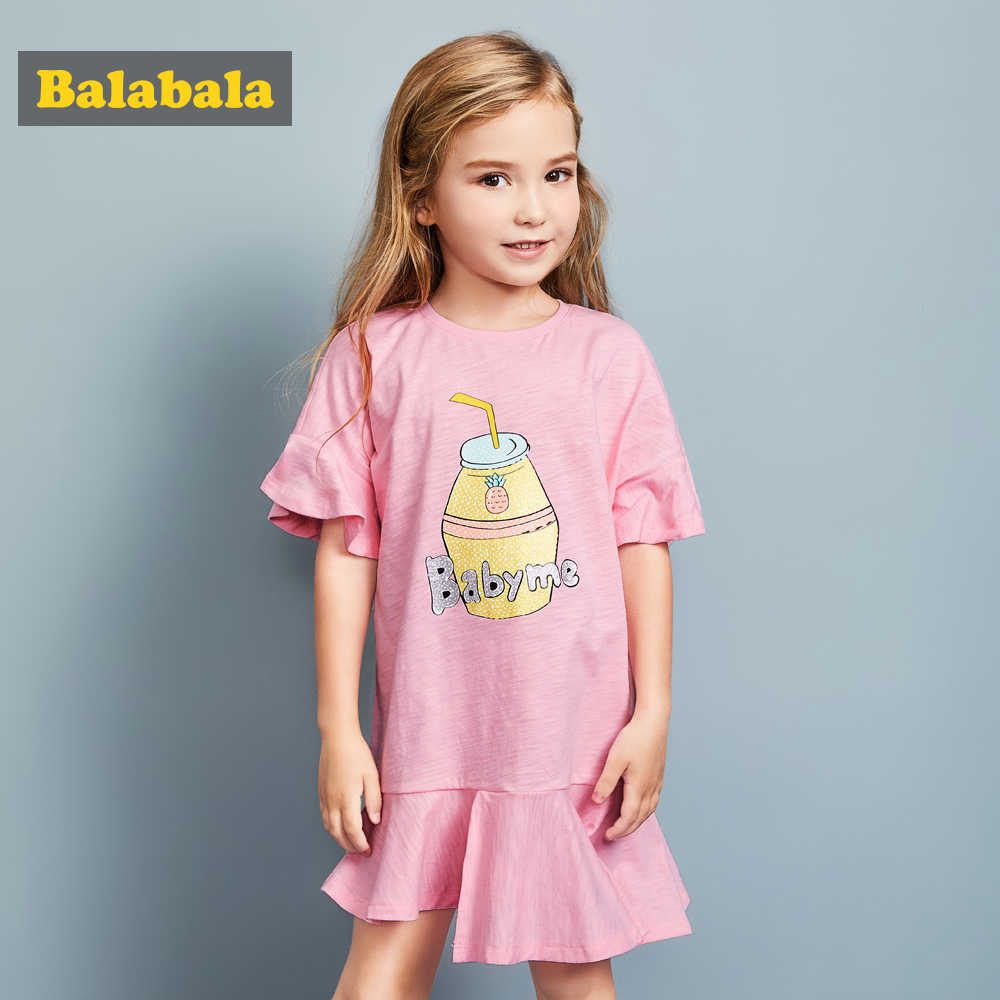 Balabala בנות נסיכת שמלת flare שרוול שמלות ילדה ילדי בגדי תלבושות בנות מסיבת שמלת קיץ בגדים