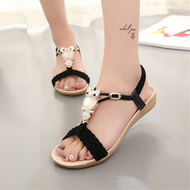 Wedge sandals women 2017 fashion bohemia beaded owl women sandals  flip flop summer style shoes woman shoes sandals women beaded bohemian sandals 2017 new summer fashion ladies wedge sandals gladiator style free shipping
