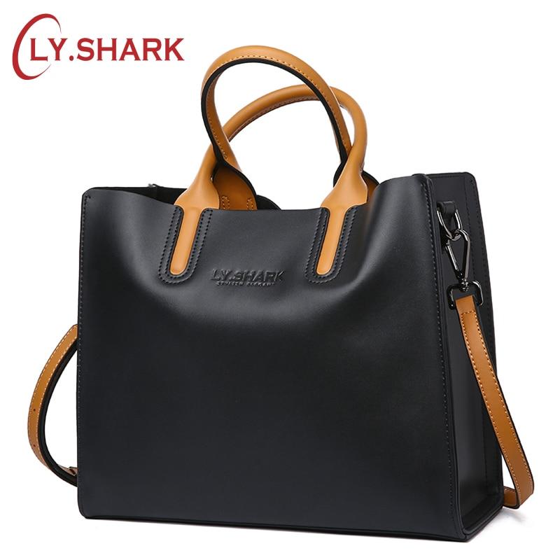 LY SHARK Big Messenger Bag Women Shoulder Bag Female Bag Ladies Genuine Leather Bags For Women