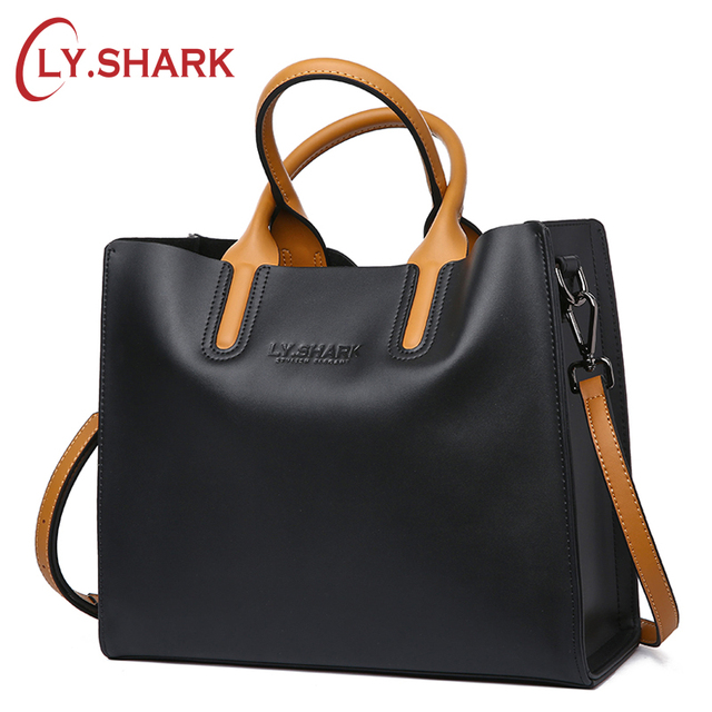 05963254bb6 US $48.62 24% OFF|LY.SHARK Big Messenger Bag Women Shoulder Bag Female Bag  Ladies Genuine Leather Bags For Women 2018 Women Handbags Red Black-in ...