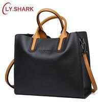 LY.SHARK Big Messenger Bag Women Shoulder Bag Female Bag Ladies Genuine Leather Bags For Women 2018 Women Handbags Red Black