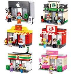 مدينة مصغرة الشارع لعبة متجر التجزئة مخزن 3D نموذج KFCE ماكدونالدز مقهى أبل مصغرة بناء كتلة للطفل متوافق مع ليغو