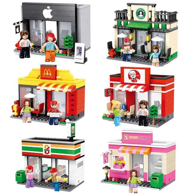 市ミニストリートおもちゃ屋小売店 3D モデル KFCE マクドナルドカフェアップルミニチュアビルディングブロック子供のためと互換性レゴ