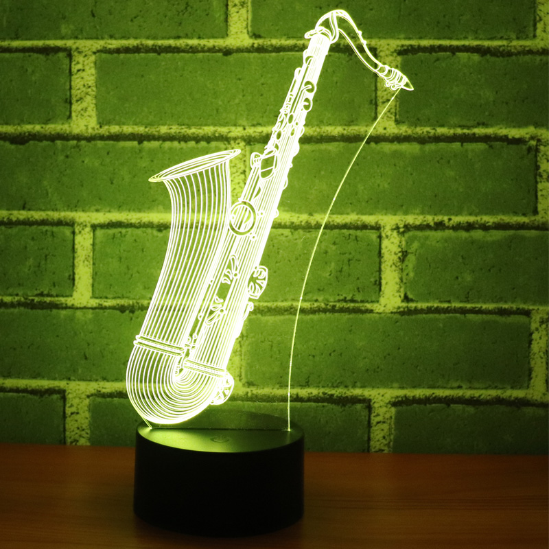 3D LED Night Light Sax Music Instruments Saxophone with 7 Colors Light for Home Decoration Lamp Amazing Visualization Optical 3D LED Night Light Sax Music Instruments Saxophone with 7 Colors Light for Home Decoration Lamp Amazing Visualization Optical