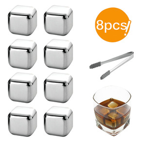 New Whisky Stones Ice Cubes Set Reusable Food Grade Stainless Steel Wine Cooling Cube Chilling Rock Party Bar Tool