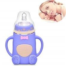 Товары для матери и ребенка, милый бант для новорожденного ребенка, широкий калибр, нескользящая бутылочка с ручкой, стеклянная бутылочка для кормления ребенка