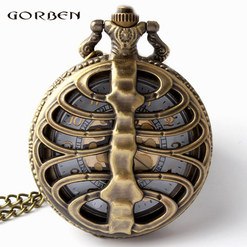 Retro Steampunk Gangsa Spine Ribs Hollow Quartz Pocket Watch Kalung Loket rantai sweater Wanita Hadiah P105
