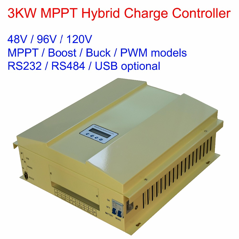3000W/3KW 48V/96V/120V MPPT/BULK/BOOST/PWM LCD display wind solar(600W) hybrid charge regulator controller with RS232