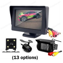 4.3 дюймов TFT ЖК-дисплей экран автомобиля Мониторы дисплей 2 видео вход с ночного видения заднего вида Камера радар Датчик беспроводной комплект