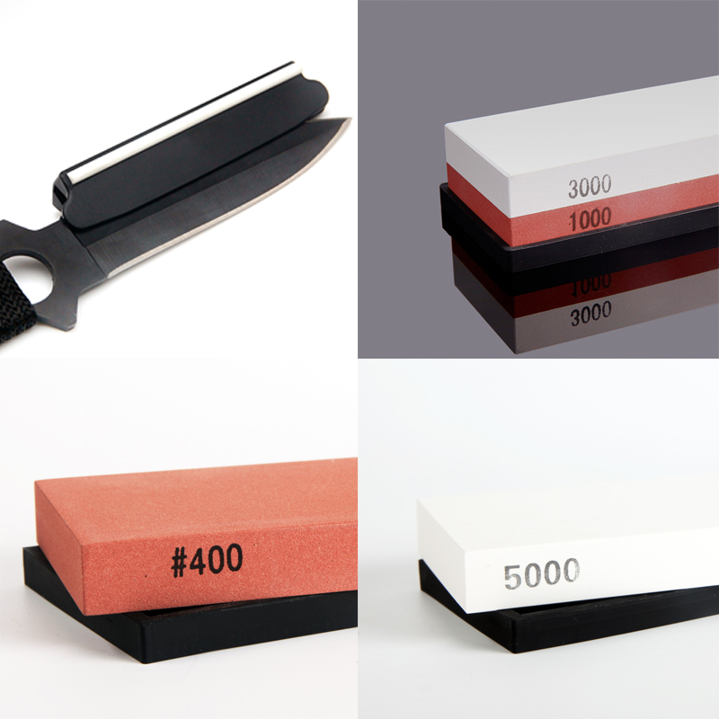 Top Sale 400 1000&3000 5000# free-angle-guide combination Dual Whetstone Double Sided Grit Knife Sharpener Sharpening Wet Stone