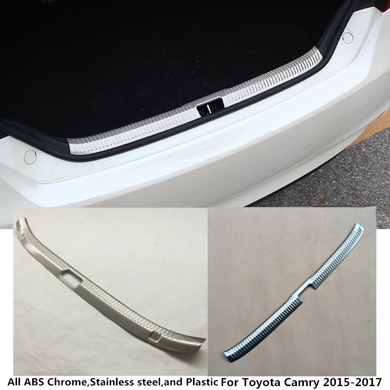 цена на For Toyota Camry 2015 2016 2017 car styling body inner inside Rear Bumper trim Stainless Steel Scuff Sill trunk plate pedal 1pcs