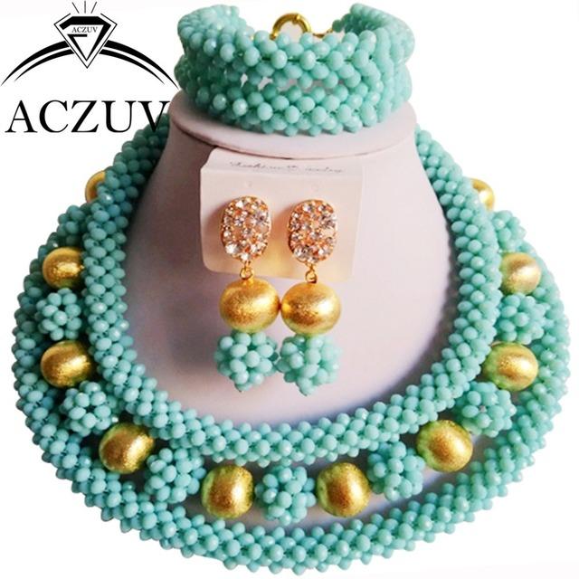 Joyería de la boda cristal aqua azul perlas africanas lv016