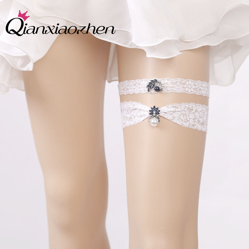 Wedding Leg Garter: Qianxiaozhen 2pcs/set Lace Leg Wedding Garter Bridal