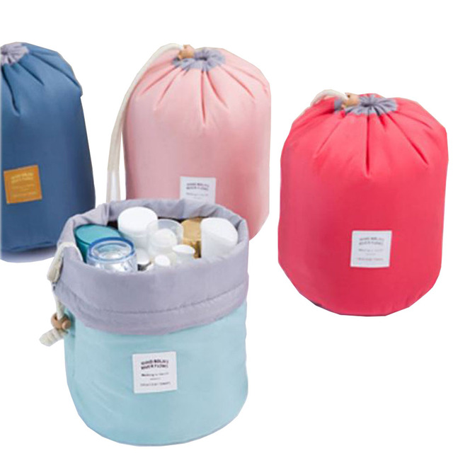 3f4a1a435c Fashion Barrel Shaped Travel Cosmetic Bag Make Up Bag Drawstring Elegant  Drum Wash Kit Bags storage bags Travel toiletry kit