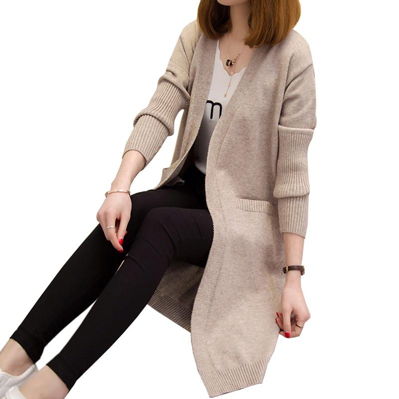 Frauen Pullover Lange Strickjacke 2017 Neue Mode Herbst Winter Lange Ärmel Lose Strickjacke Weibliche Pullover Langen Mantel 4l43 Rheuma Lindern Frauen Kleidung & Zubehör