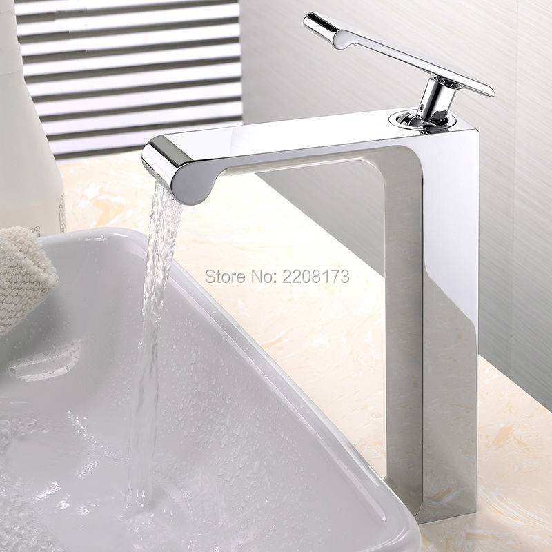 2017 Solid Brass Unique Good Quality Deck Mounted Chrome Basin Faucet Single Handle Hot & Cold Vessel Mixer Countertop Tap