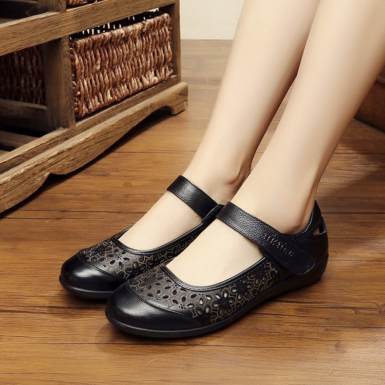 c31276222d6 ... Ladies Beach Summer Women Sandals Flats Leather Size Genuine Shoes Cool  Old Female DONGNANFENG Cow Mother ...