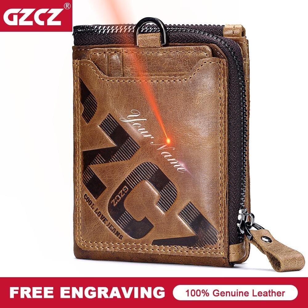Кошелек GZCZ из натуральной кожи, мужской короткий кошелек на молнии, винтажный держатель для карт, зажим для денег, брендовый мужской кошелек leather men