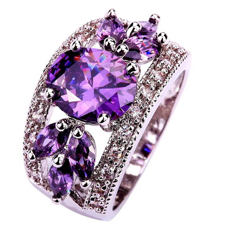 Art Deco Fancy Oval Cut purple hollow round 925 Silver color Ring Size 7 8 9